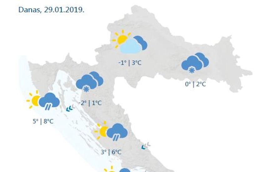 Vrijeme danas: U Slavoniji možda čak i mrvica snijega