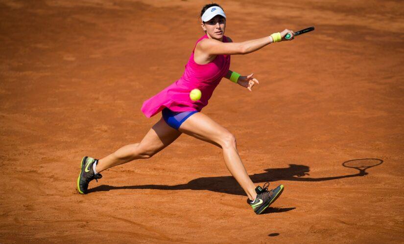 Belinda Bencic of Switzerland in action during her second round match at the 2020 Internazionali BNL d'Italia WTA Premier 5 tennis tournament