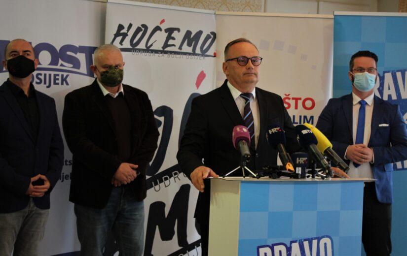 U Osijeku predstavljena predizborna suradnja i podrška nezavisnom kandidatu za gradonačelnika grada Osijeka Berislavu Mlinareviću